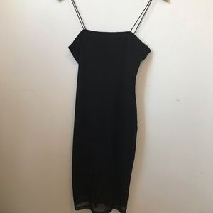 Simple black sheer layered dress